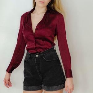 Deep Red Silk Blouse